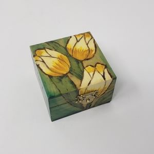 Small Tulip Painted Wooden Trinket Box
